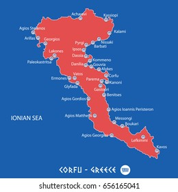island of corfu in greece red map illustration in colorful
