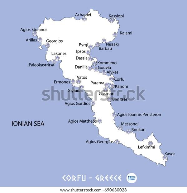 Island Corfu Greece White Map Blue Stock Vector Royalty Free