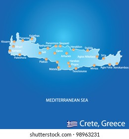 Island of Crete in Greece map on blue background