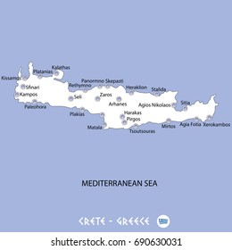 island of crete in greece white map and blue background illustration in colorful