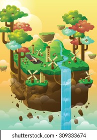 Island floating in the sky with trees, windmill, houses, and waterfall.