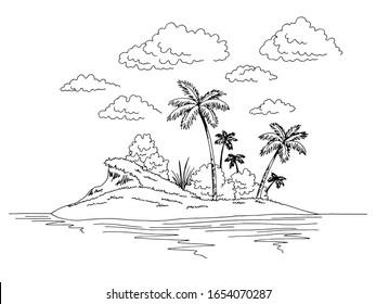 Island graphic black white landscape sketch illustration vector