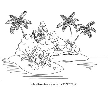 Island graphic black white landscape sketch illustration vector