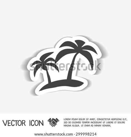 Island Icons Symbol Island Palm Trees Stock Vector Royalty Free