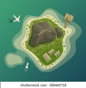 Island or isle with beach and mountain or volcano, house or bungalow, wood or forest, umbrella on sand beach, airplane and boat top or air view. Good for tourism and summer vacation, travel theme