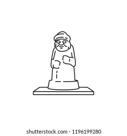 Island of Jeju statue vector icon on white background black line stroke South Korea travel tourism destination