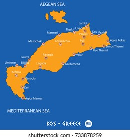 Island of  kos in Greece orange map art and blue background