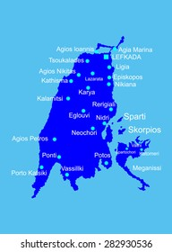 Island of Lefkada in Greece vector map silhouette high detailed illustration isolated on blue background. Ionian Island. Greek paradise island.