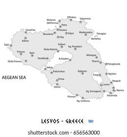 island of lesvos in greece white map art illustration