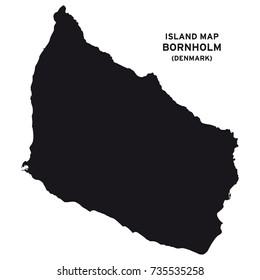 Island map of Bornholm, Denmark