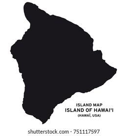 Island map of Hawai, Hawaii, USA