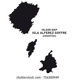 Island map of Isla Alferez Goffre, Argentina, South America
