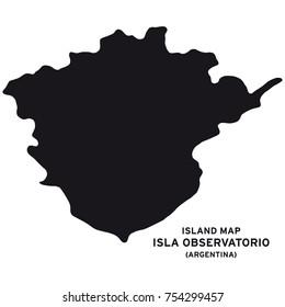 Island map of Isla Observatorio, Argentina, South America