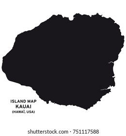 Island map of Kauai, Hawaii, USA