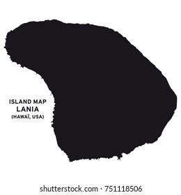 Island map of Lania, Hawaii, USA
