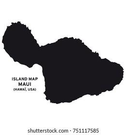 Island map of Maui, Hawaii, USA