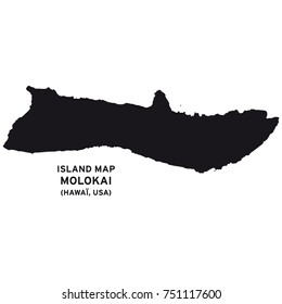 Island map of Molokai, Hawaii, USA