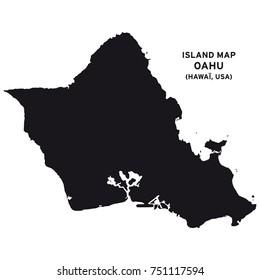 Island map of Oahu, Hawaii, USA