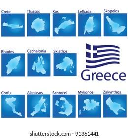 island map on Greece vector illustration on blue background