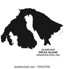 Island map of Orcas Island,Washington State, USA