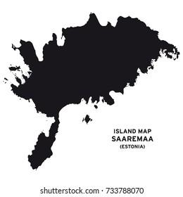 Island map of Saaremaa, Estonia