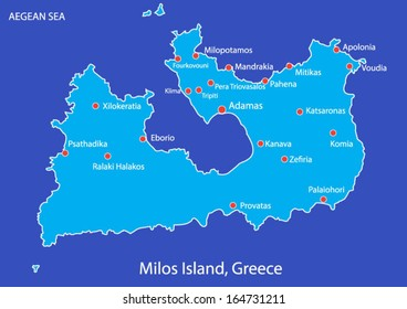Island of Milos in Greece map on blue background. This is a layered map of Milos island. There is a layer with all cities and villages of the island.