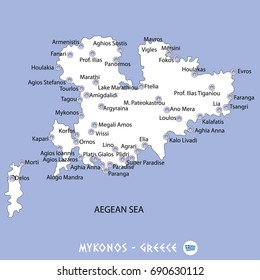 island of mykonos in greece white map and blue background illustration in colorful