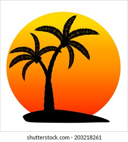 island with palm trees on sunrise on white background, vector illustration