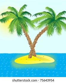 Island with a palms in the sea