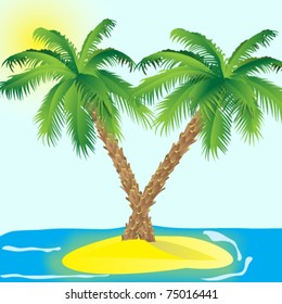 Island with a palms in the sea. / Vector