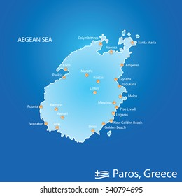 island of Paros in Greece map illustration design in colorful