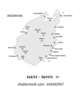 island of paros in greece white map art illustration
