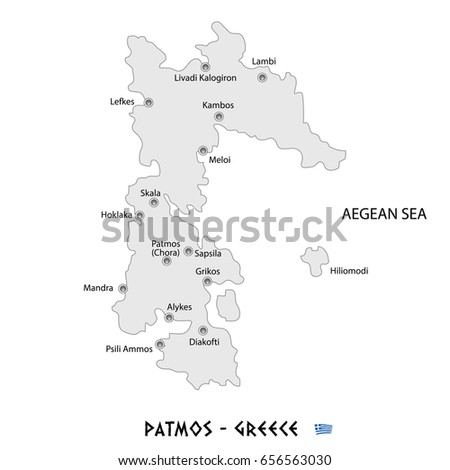 Island Patmos Greece White Map Art Stock Vector Royalty Free