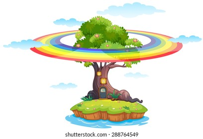 Island with rainbow around the tree