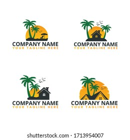 Island Resort Sunset Logo Vector Design. Summer Holiday Beach Logo for your Tourism Business Company or for your Design Vector Element.