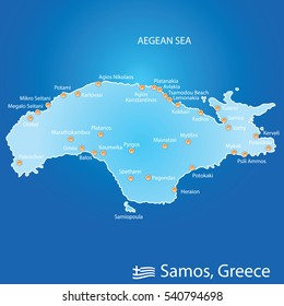 island of Samos in Greece map illustration design in colorful