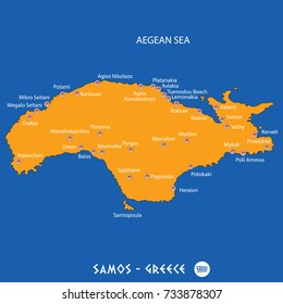 Island of Samos in Greece orange map art and blue background
