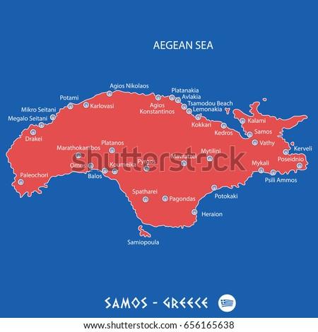 a80386ecf8e Island Samos Greece Red Map Illustration Stock Vector (Royalty Free ...