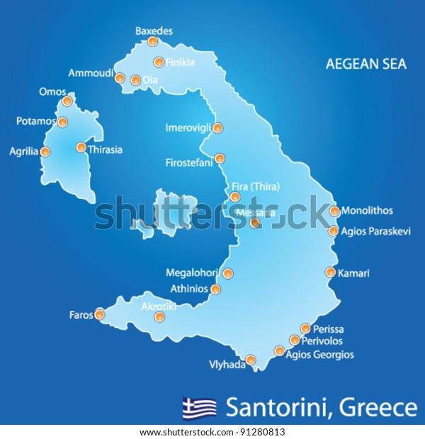 Image Vectorielle De Stock De Carte De L Ile De Santorin En 91280813