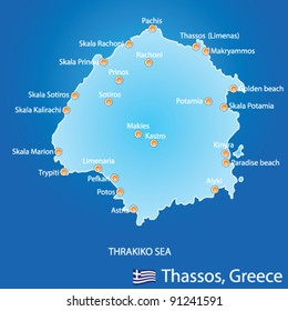 Island of Thassos in Greece map on blue background