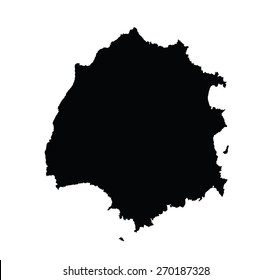 Island of Thassos in Greece vector map silhouette,  high detailed black silhouette illustration isolated on white background.  Thasos map. Greek island Thasos. Aegean Sea island territory.