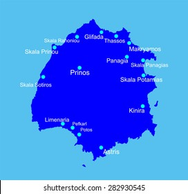 Island of Thassos in Greece vector map silhouette,  high detailed black silhouette illustration isolated on blue background.  Thasos map. Greek island Tasos. Aegean Sea island territory.