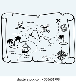 Island treasure map. Isolated on blue background. Vector silhouettes