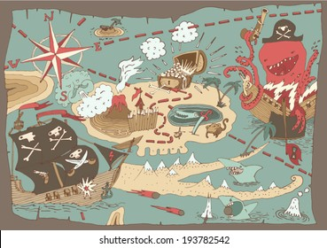 Island Treasure Pirate Map, vector illustration, hand drawn