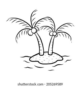 island with two coconut trees / cartoon vector and illustration, black and white, hand drawn, sketch style, isolated on white background.