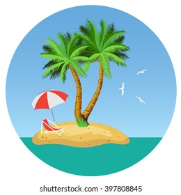Island with two palm trees, parasols and deckchairs. Illustration. Vector.