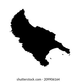 Island of Zakynthos in Greece vector map high detailed silhouette illustration isolated on white background.