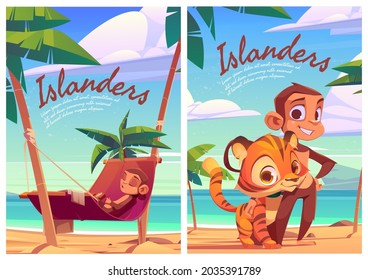 Islanders cartoon posters with monkey and tiger cub funny wild animals, island inhabitants predator and herbivorous on tropical seaside with palm trees, cute ape relax on hammock, vector illustration