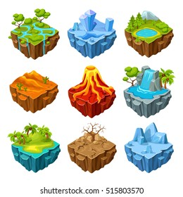 Islands of computer game isometric set with drought trees and mountains volcano and waterfall isolated vector illustration