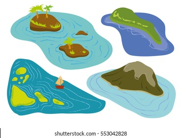Islands set vector